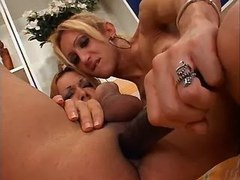 Shemales w dildo fucking each other