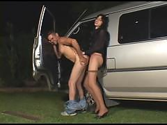 Outdoor doggystyle bout with awesome shemale and muscular guy by the car