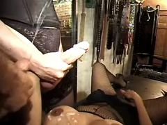 Lusty shemale and guy jizz on slave