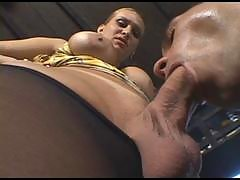 Bigtitted shemale can't keep her boner in her tights starving for guy's ass