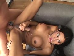 Brunette shemale cums after fuck