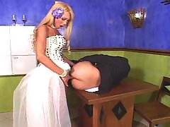 Red hot shemale bride is about to give her kinky fiance a stiffy present